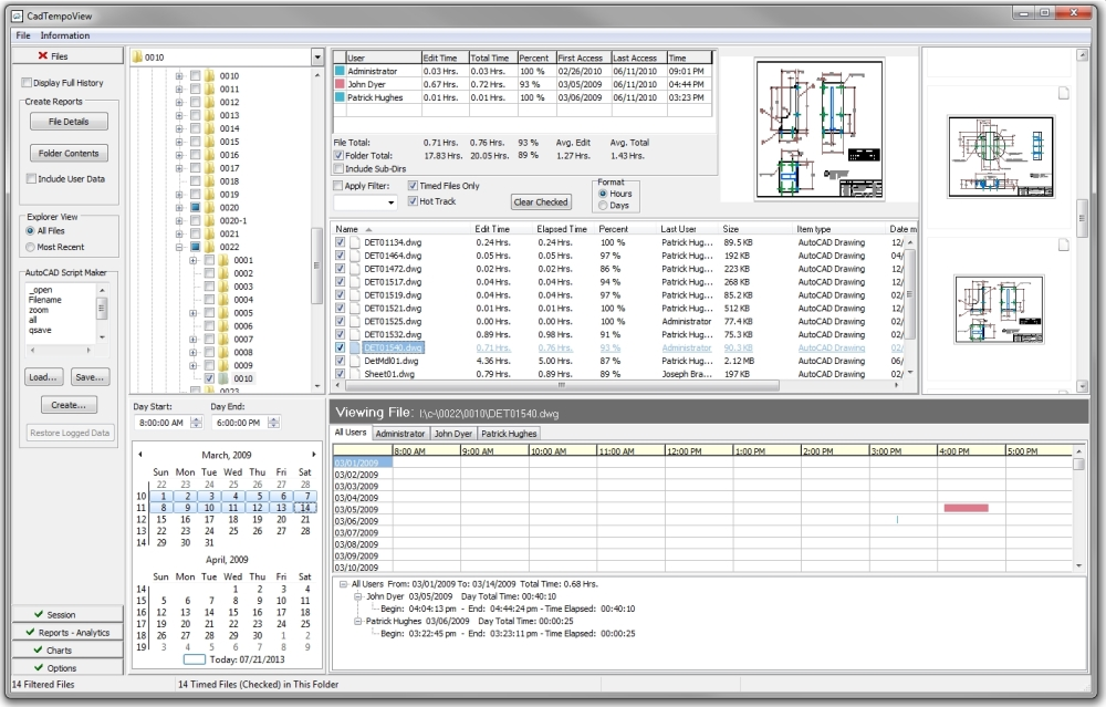 The CadTempo Viewer - view the CAD drawing and user time history.